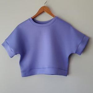 Zella Purple Short Sleeve Crop Top Large 10/12
